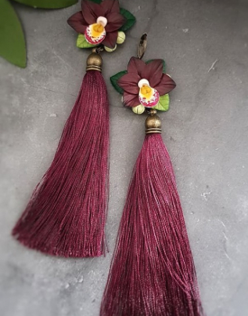 "Earrings ""Orchids"" with tassels, dark red"